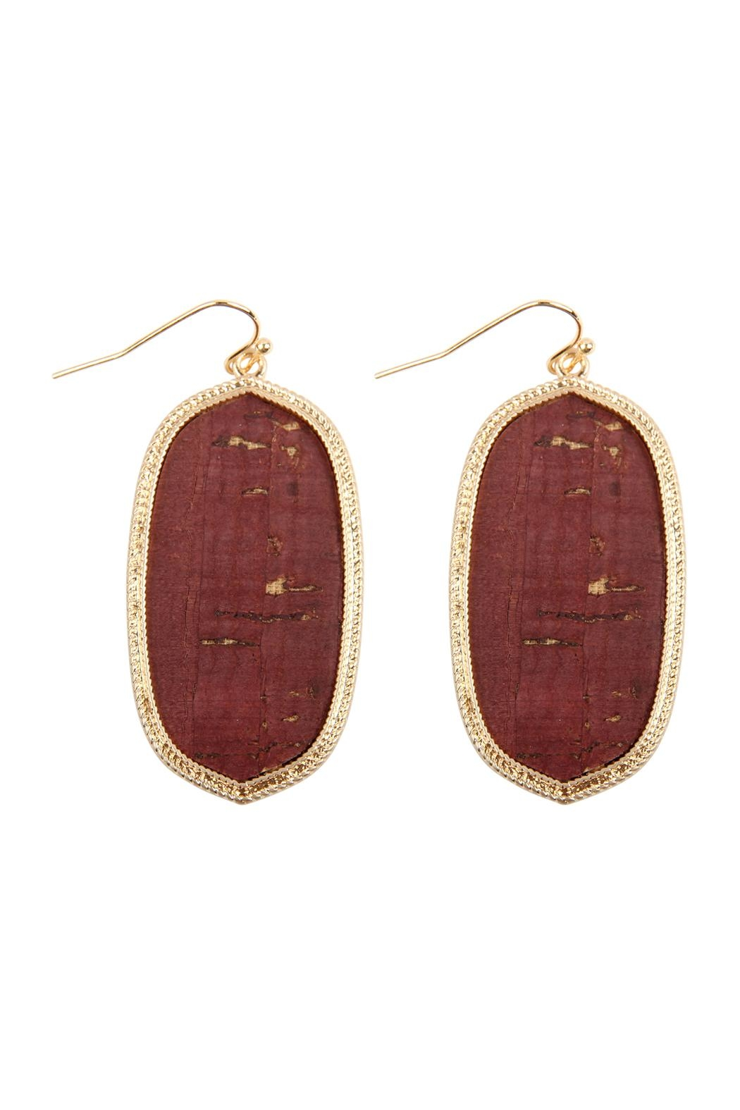 Riah Fashion Oval-Cork Fish Hook-Drop-Earrings - Front Cropped Image