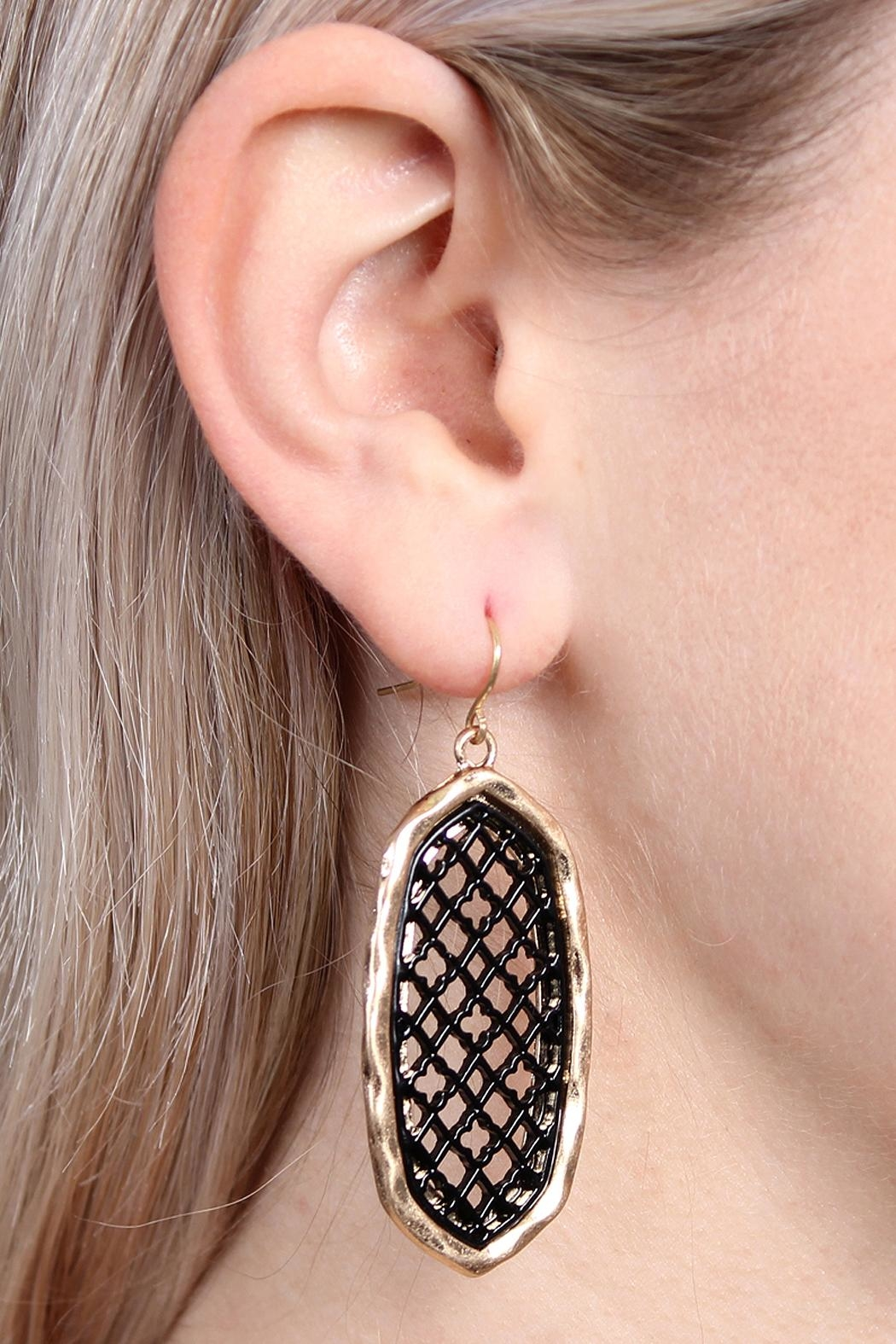 Riah Fashion Oval-Cut-Out Filigree Earrings - Side Cropped Image