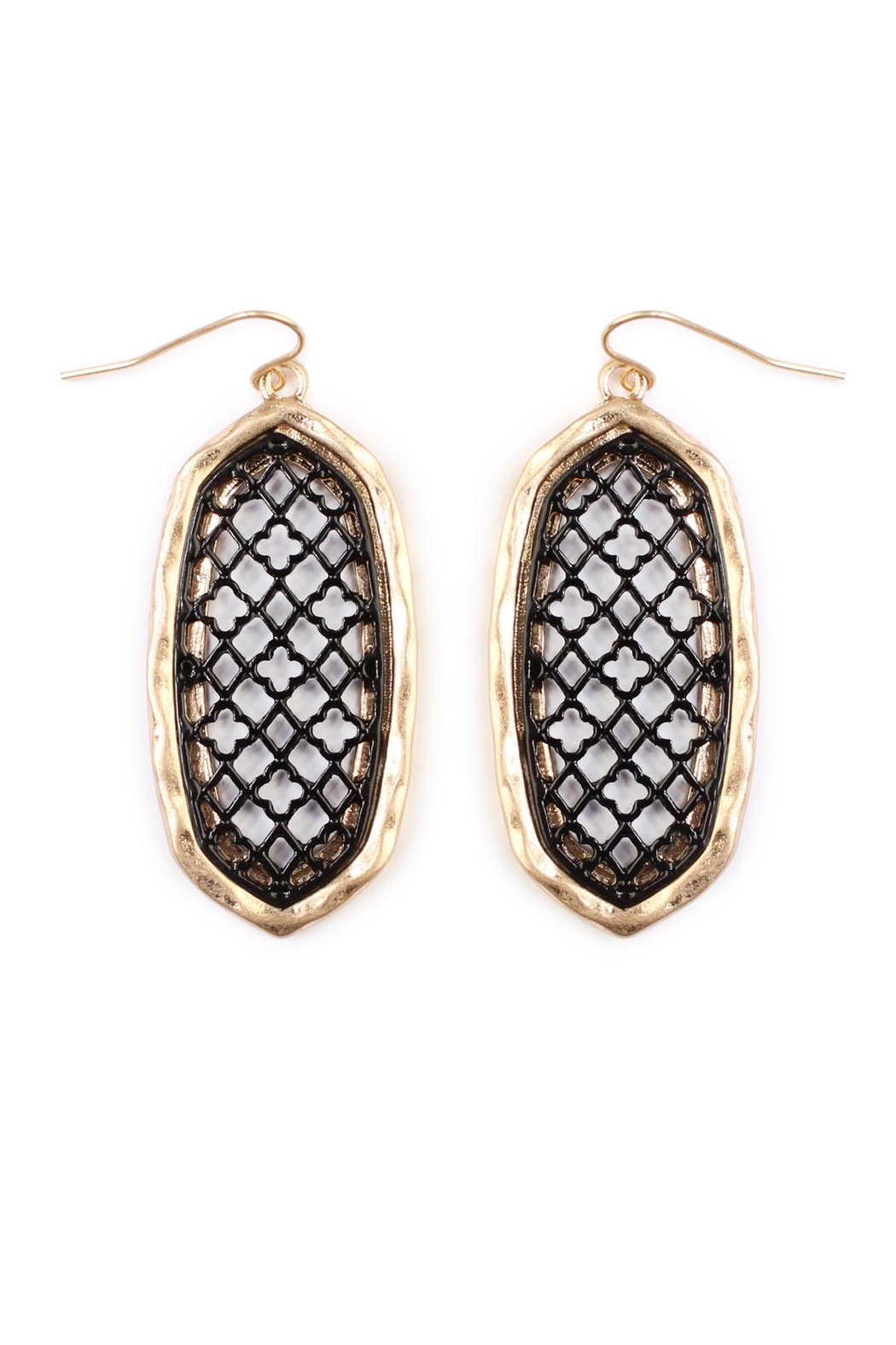 Riah Fashion Oval-Cut-Out Filigree Earrings - Front Cropped Image