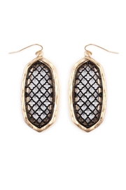 Riah Fashion Oval-Cut-Out Filigree Earrings - Front cropped