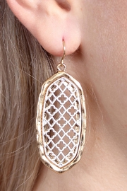 Riah Fashion Oval-Cut-Out Filigree Earrings - Side cropped