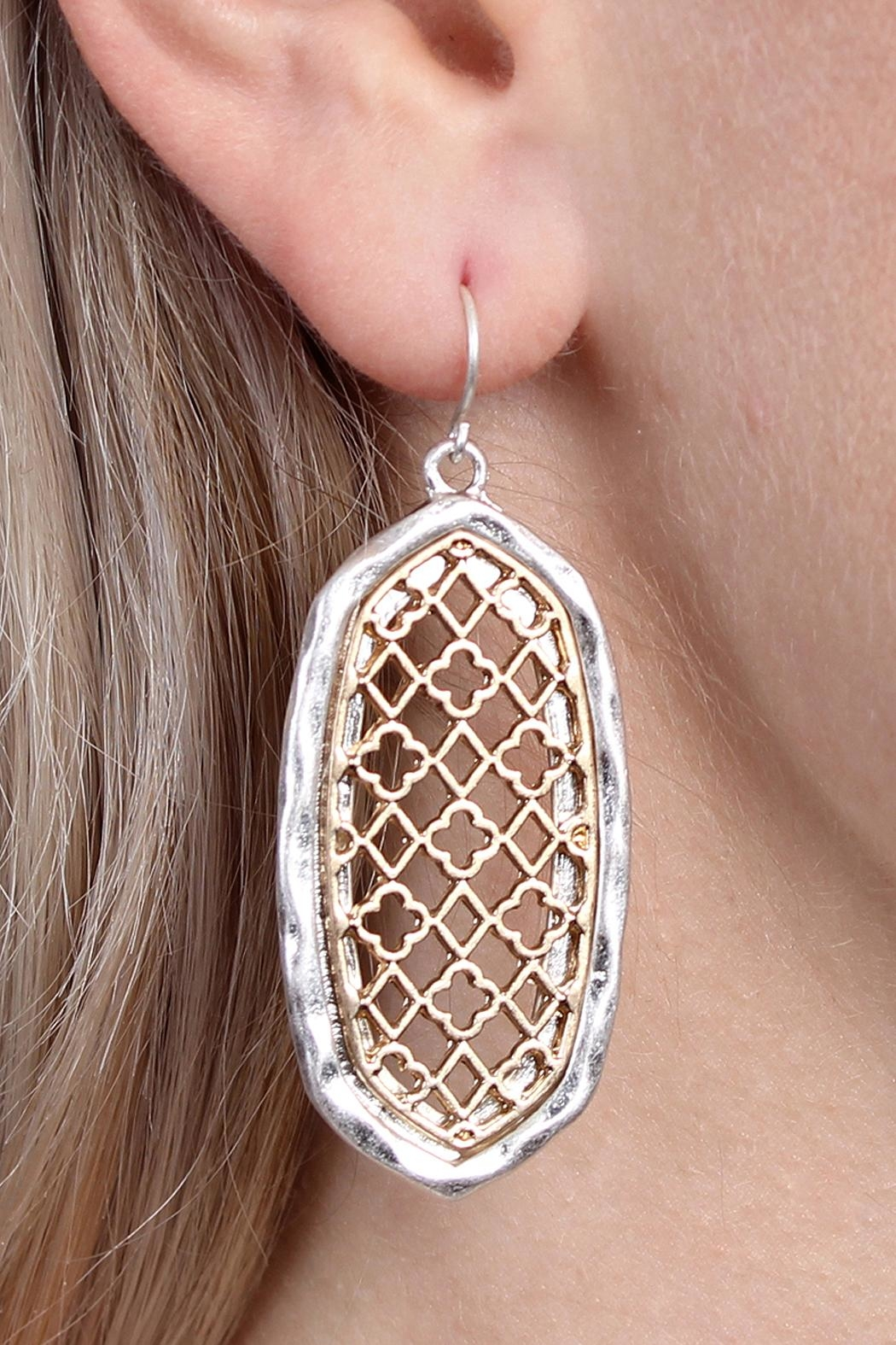 Riah Fashion Oval-Cut-Out Filigree Earrings - Front Full Image
