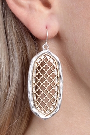 Riah Fashion Oval-Cut-Out Filigree Earrings - Front full body