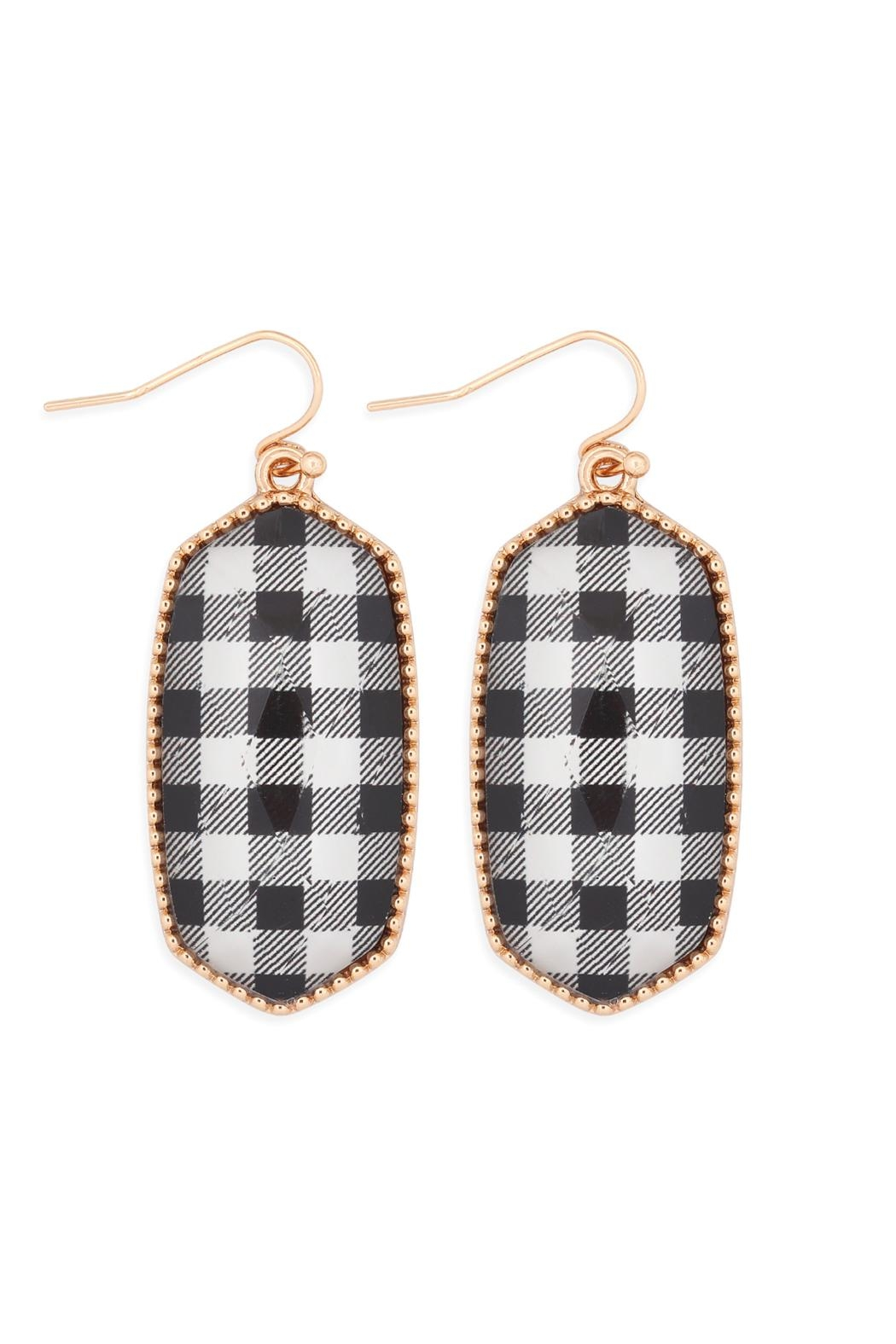 Riah Fashion Oval Drop Earrings - Front Cropped Image