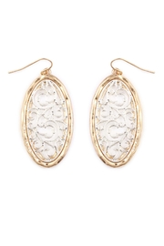 Riah Fashion Oval Filigree Earrings - Product Mini Image