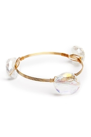Riah Fashion Oval Gem Stone Bangle - Product Mini Image