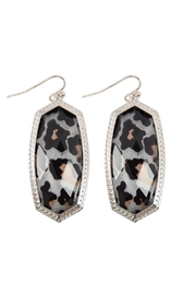 Riah Fashion Oval Leopard-Drop-Earrings - Product Mini Image