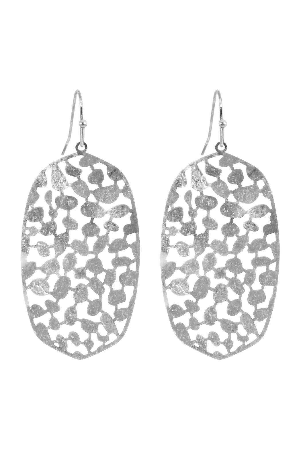 Riah Fashion Oval-Metal-Filigree-Fish-Hook-Earrings - Front Cropped Image