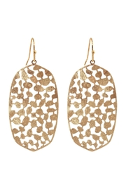 Riah Fashion Oval-Metal-Filigree-Fish-Hook-Earrings - Front cropped