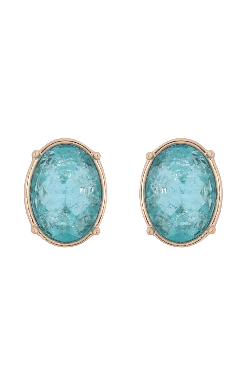 Riah Fashion Oval Rough Stone Earrings - Front Cropped Image
