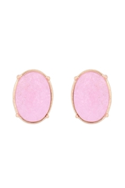 Riah Fashion Oval Rough Stone Earrings - Front cropped