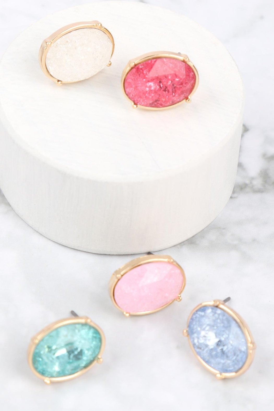 Riah Fashion Oval Rough Stone Earrings - Front Full Image