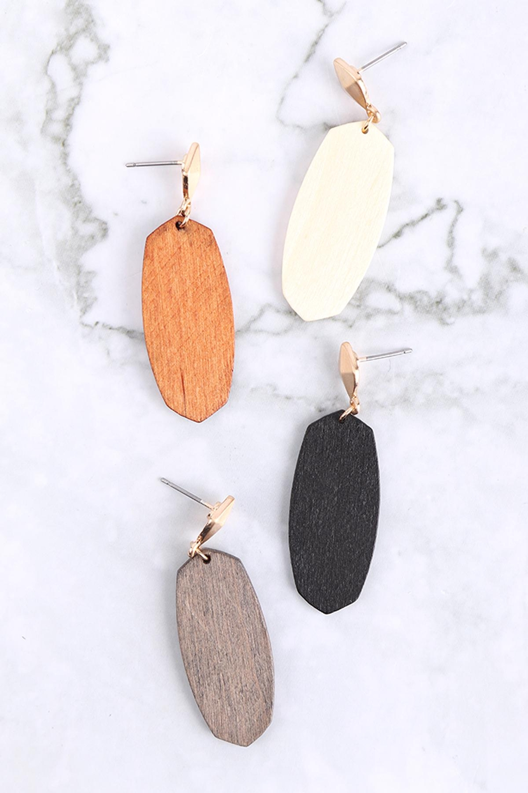 Riah Fashion Oval-Shaped-Wood-Post-Earrings - Front Full Image