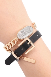 Riah Fashion Oval-Stone-Charm-Long-Chain-Leather Bracelet - Product Mini Image