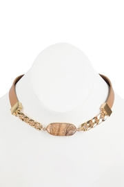 Riah Fashion Oval-Stone-Charm-Long-Chain-Leather Bracelet - Front full body