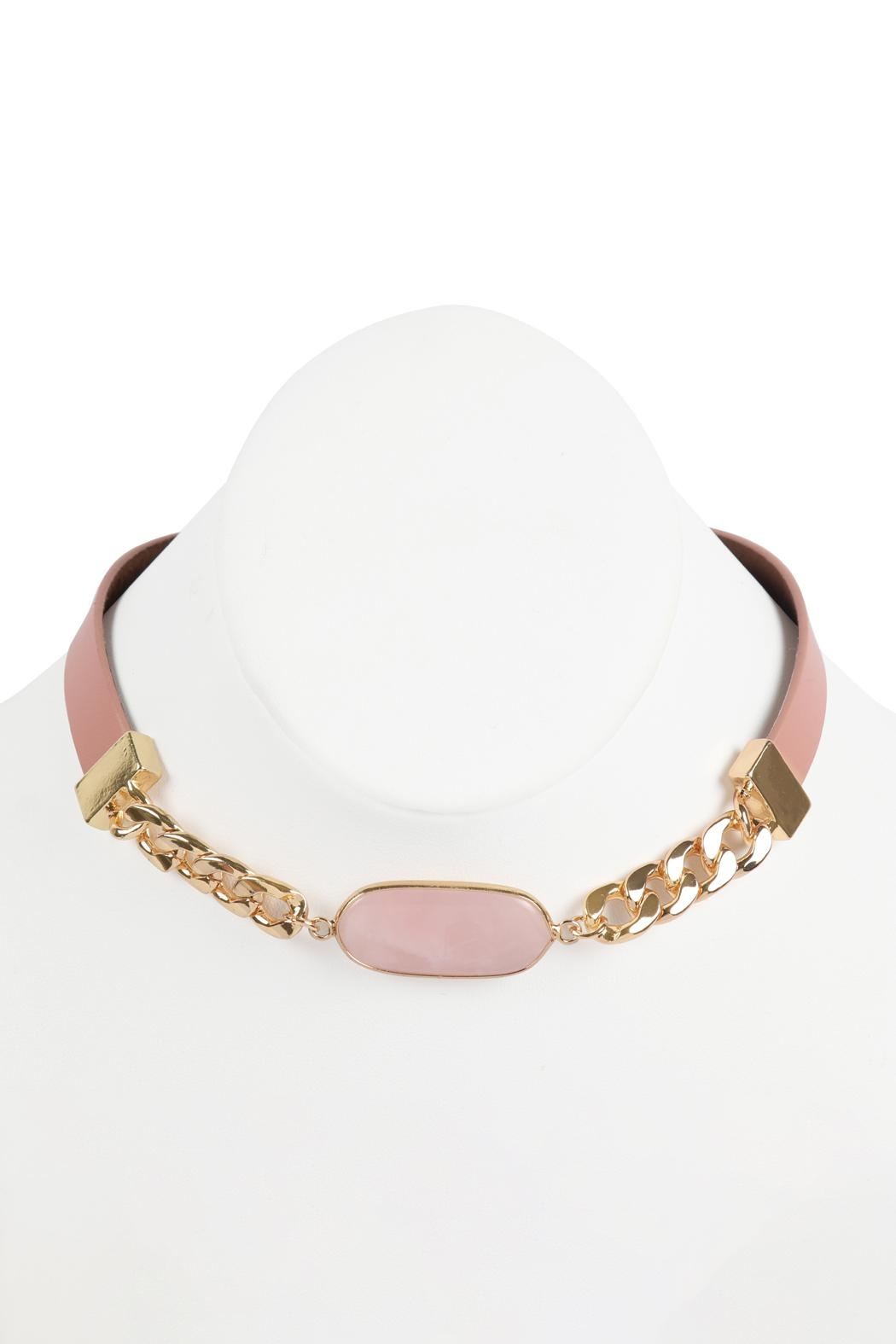 Riah Fashion Oval-Stone-Charm-Long-Chain-Leather Bracelet - Front Full Image