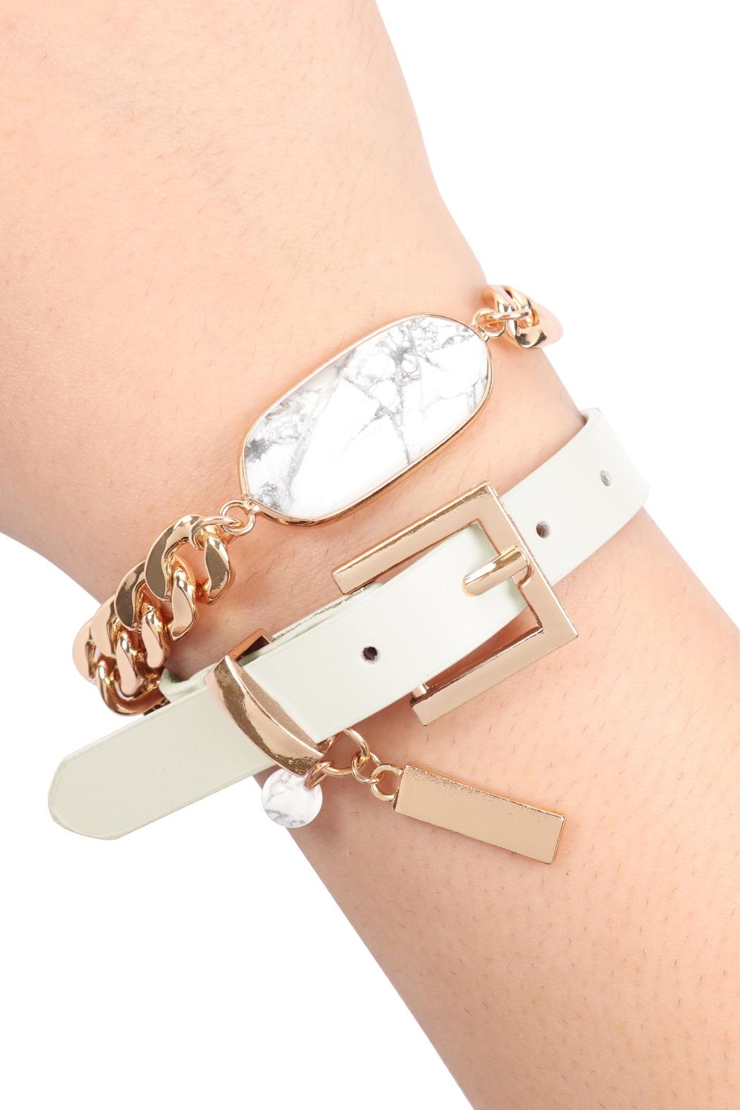 Riah Fashion Oval-Stone-Charm-Long-Chain-Leather Bracelet - Front Cropped Image