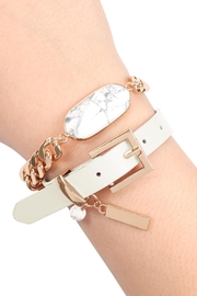 Riah Fashion Oval-Stone-Charm-Long-Chain-Leather Bracelet - Front cropped