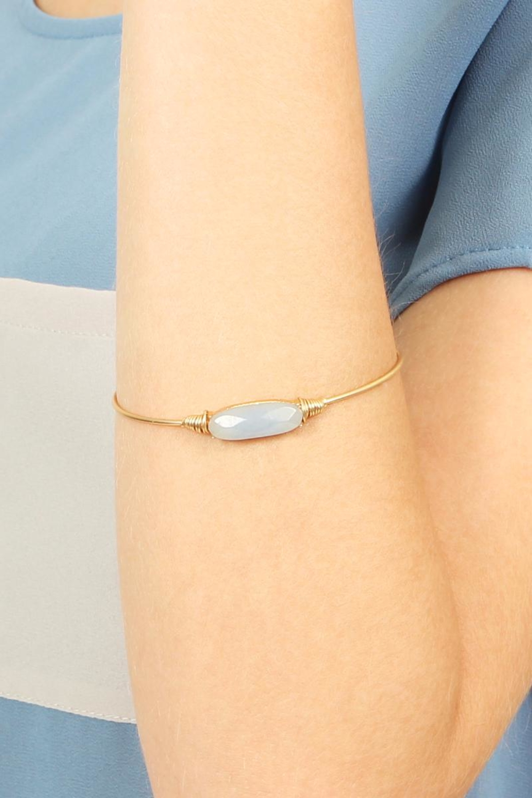 Riah Fashion Oval Stone Wired Bracelet - Front Full Image