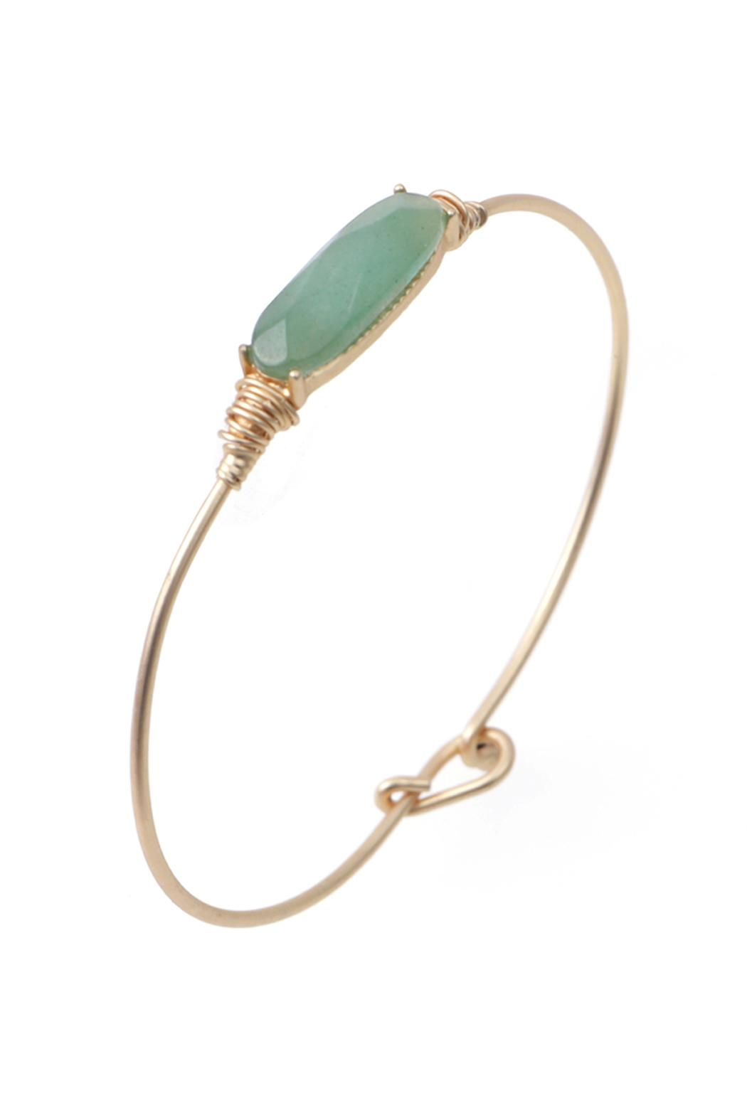 Riah Fashion Oval Stone Wired Bracelet - Front Cropped Image