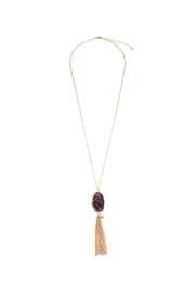 Riah Fashion Oval Tassel Necklace - Product Mini Image