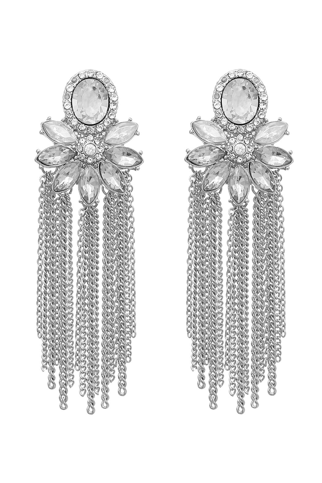 Riah Fashion Oval Top Tassel Earrings - Front Cropped Image