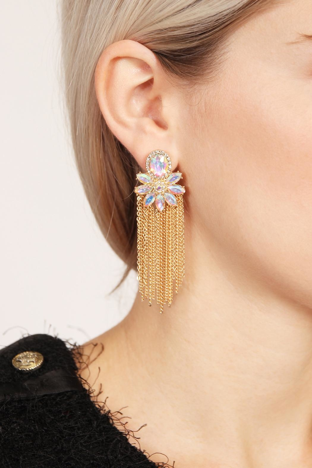 Riah Fashion Oval Top Tassel Earrings - Front Full Image