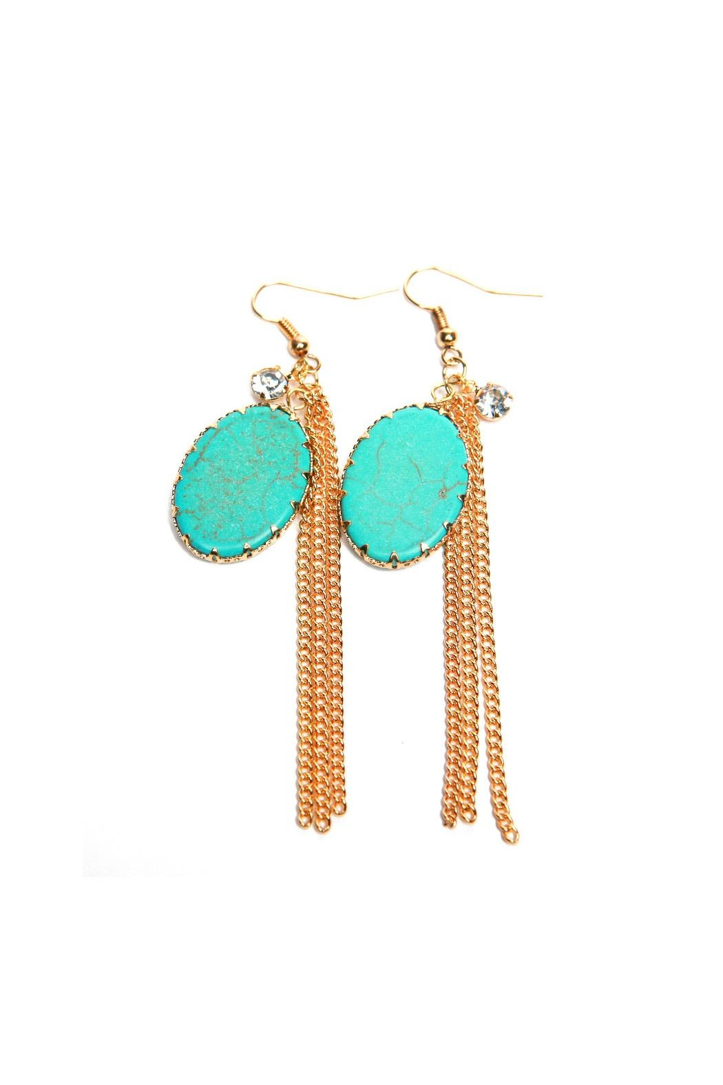 Riah Fashion Oval Turquoise Stone Earrings - Main Image
