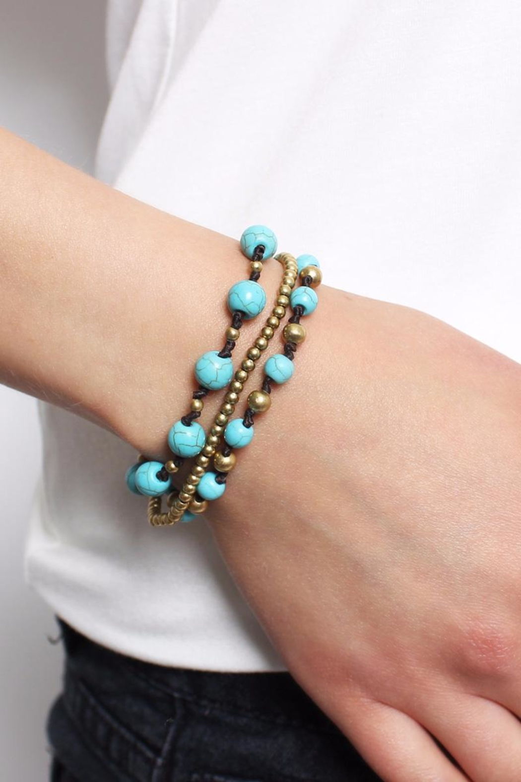 Riah Fashion Over-Layered Bead Bracelet - Side Cropped Image