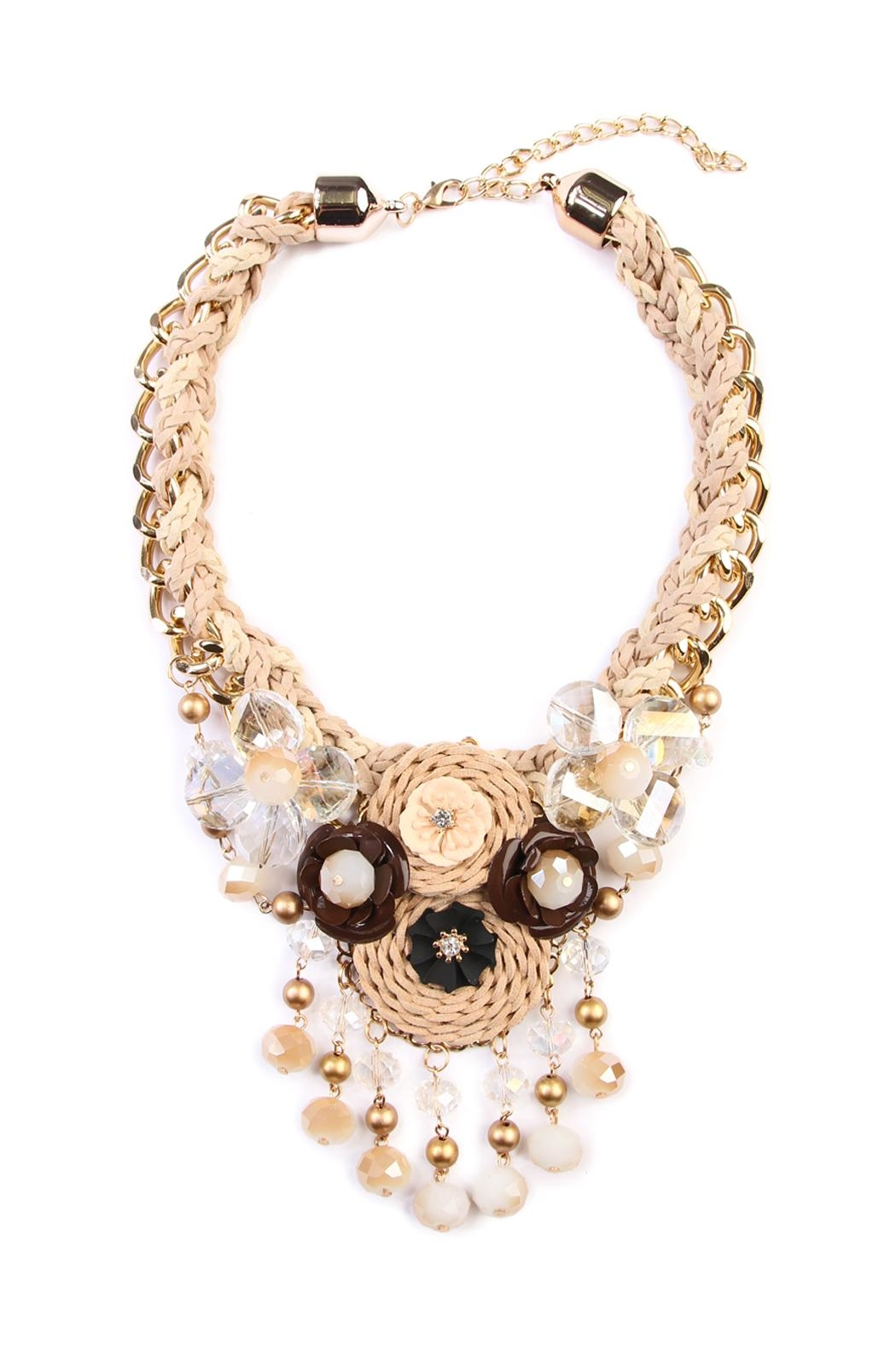 Riah Fashion Oversize Floral Bib Necklace - Front Cropped Image