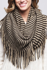 Riah Fashion Oversize Striped Infinity Scarf - Front full body