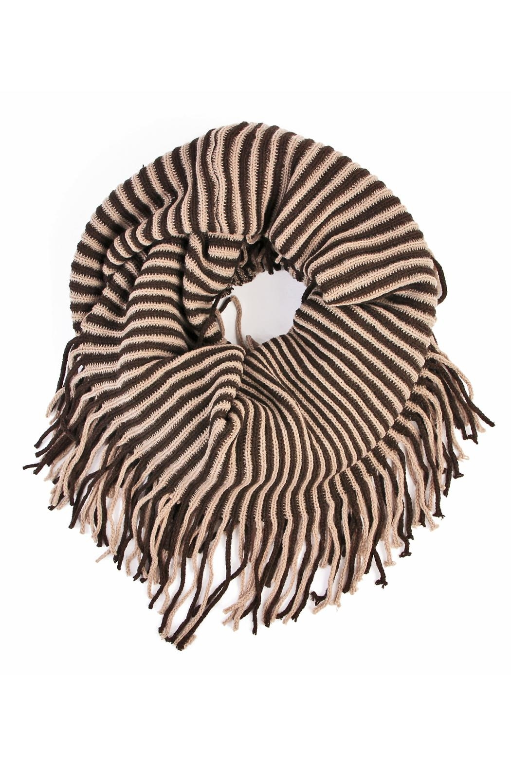 Riah Fashion Oversize Striped Infinity Scarf - Front Cropped Image