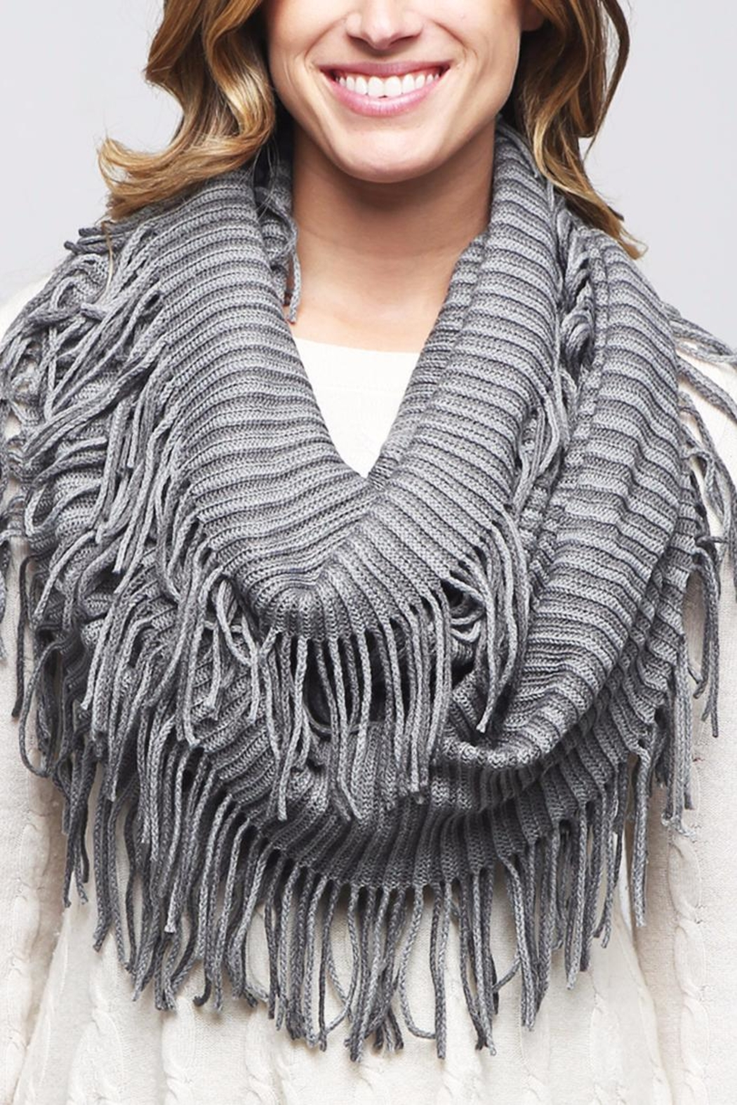 Riah Fashion Oversize Striped Infinity Scarf - Side Cropped Image