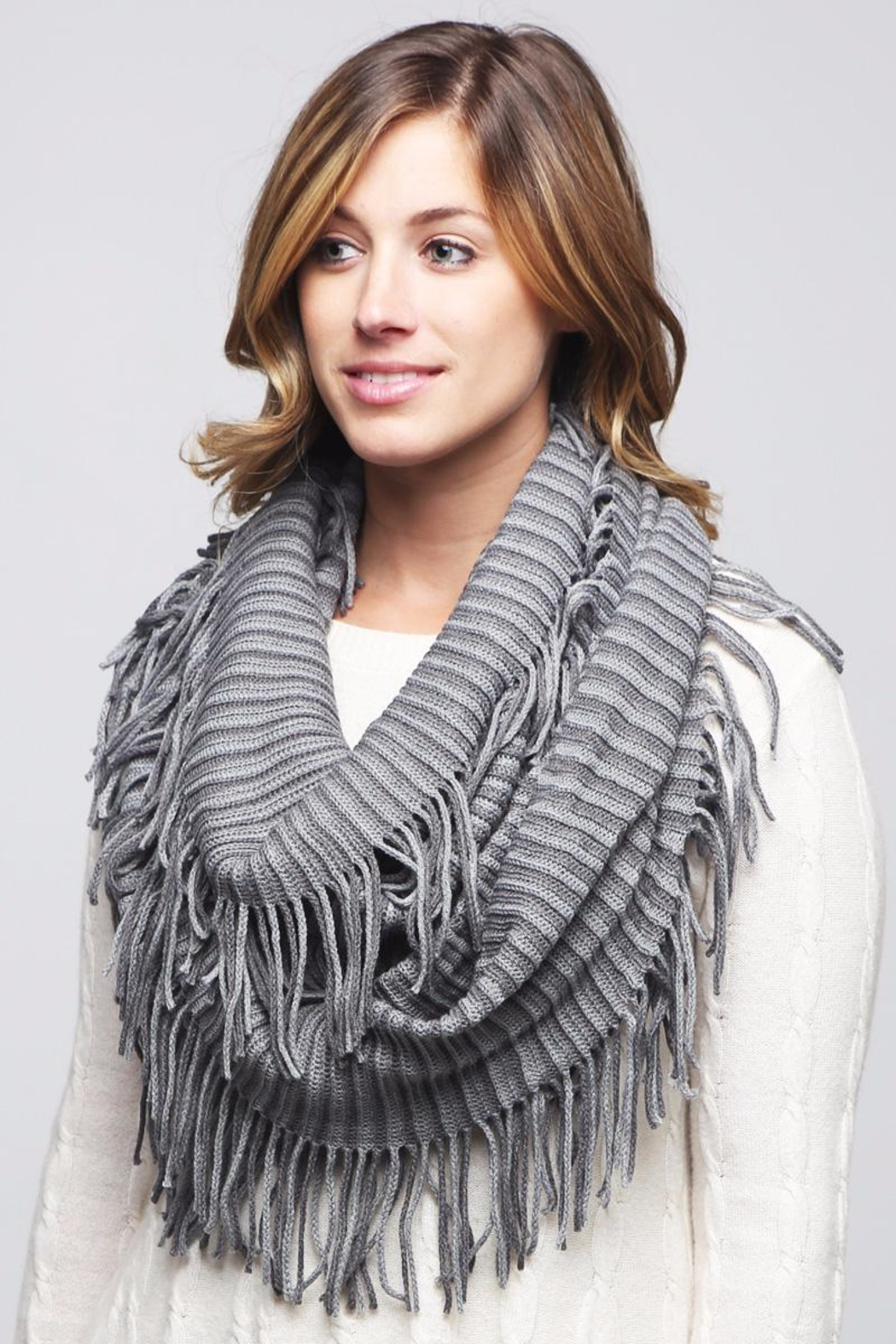 Riah Fashion Oversize Striped Infinity Scarf - Front Full Image
