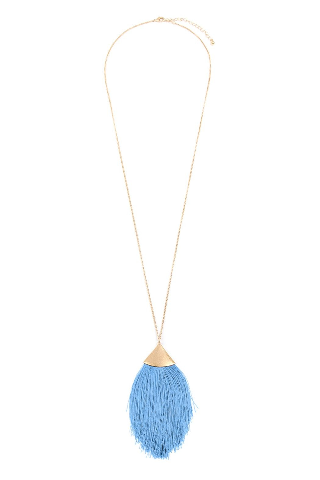 Riah Fashion Oversized-Tassel Dainty Necklace - Main Image