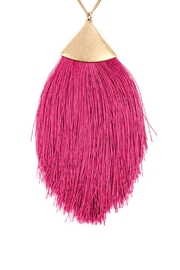 Riah Fashion Oversized-Tassel Dainty Necklace - Front full body