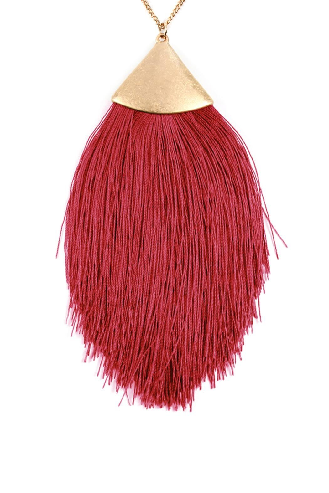 Riah Fashion Oversized-Tassel Dainty Necklace - Front Full Image