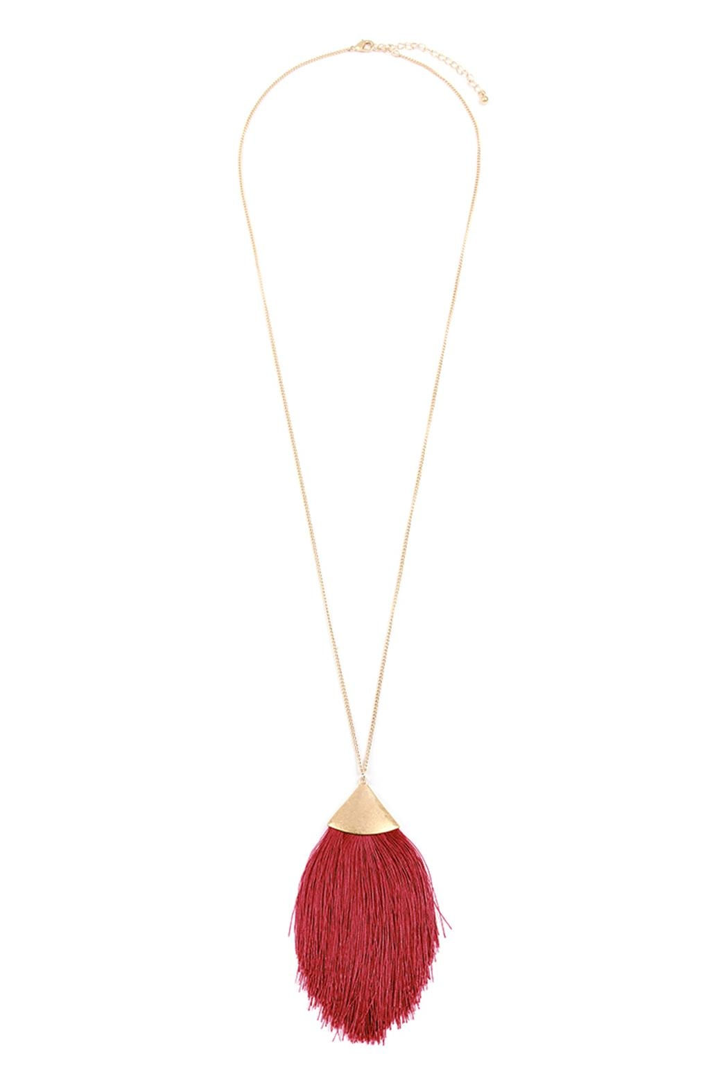 Riah Fashion Oversized-Tassel Dainty Necklace - Front Cropped Image