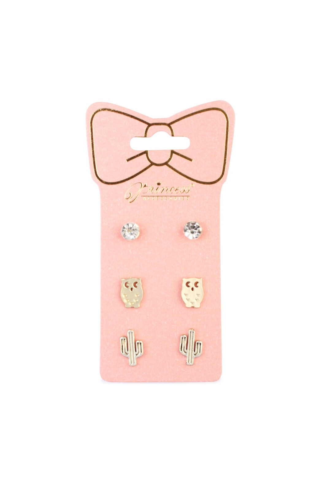 Riah Fashion Owl-&-Cactus 3-Pair Earring-Set - Main Image