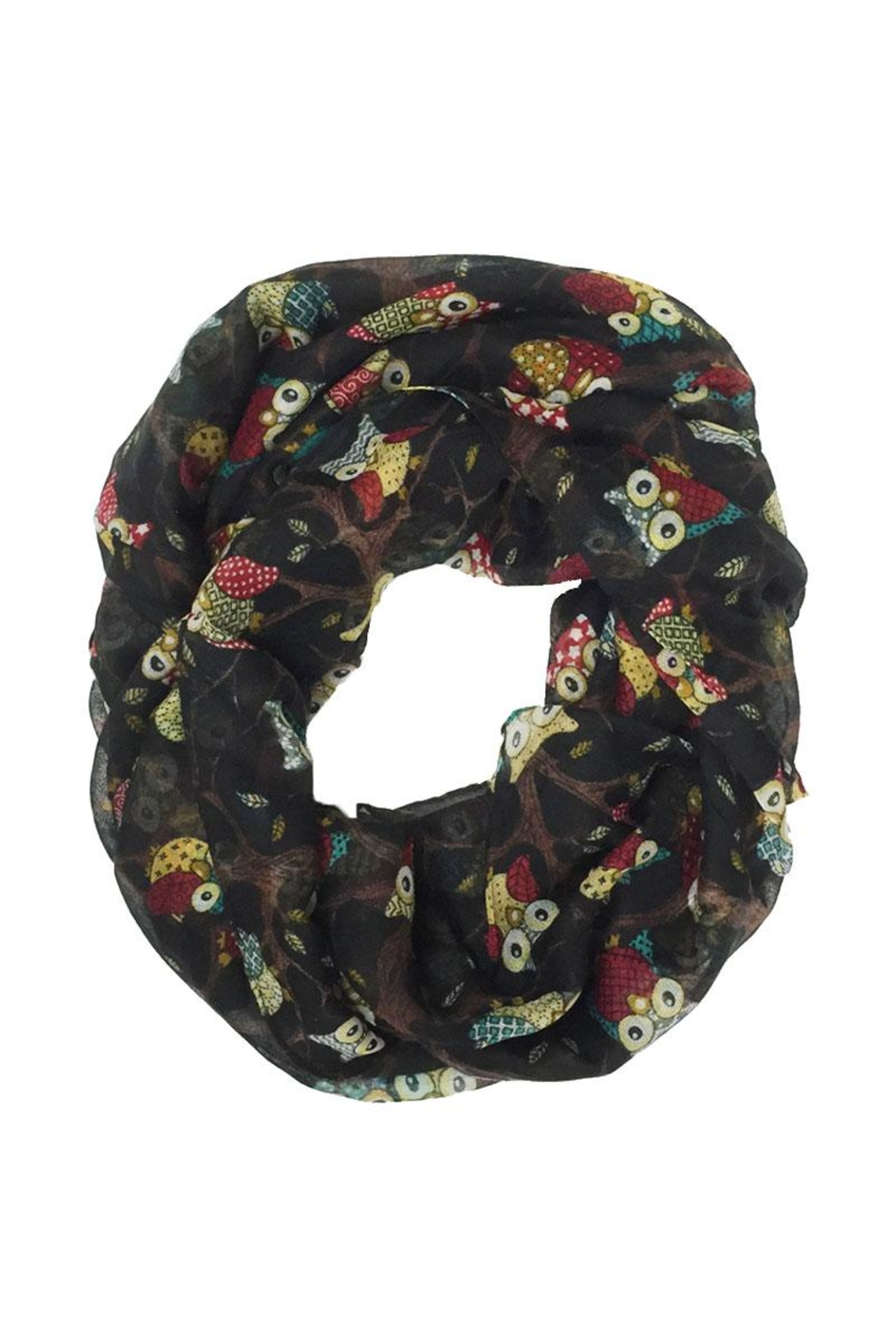 Riah Fashion Owl Print Infinity Scarf - Front Cropped Image
