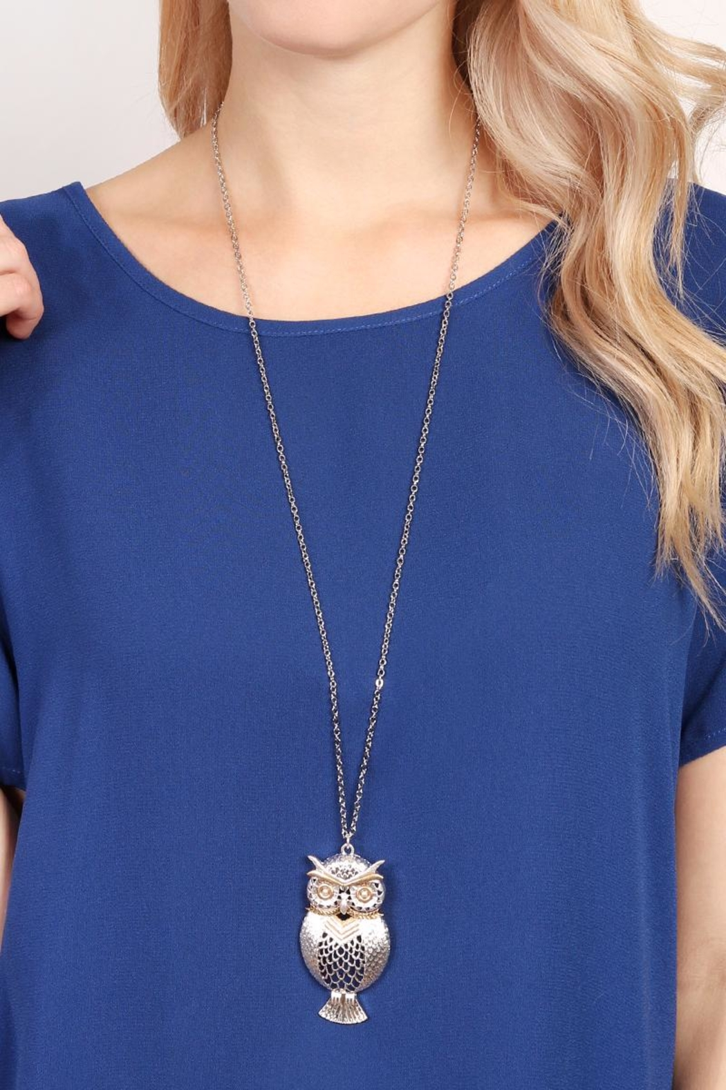 Riah Fashion Owl Two-Tone Necklace - Side Cropped Image