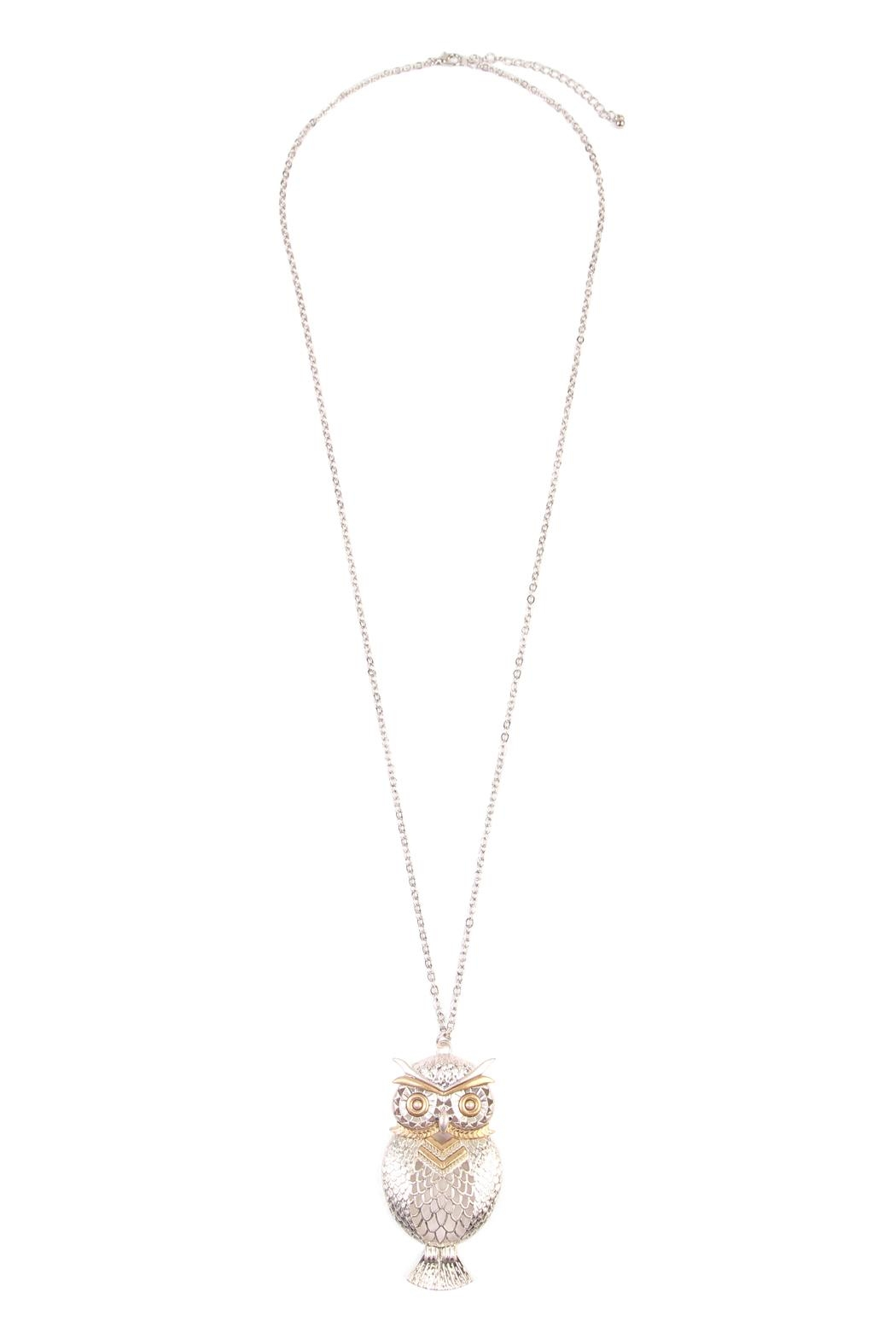 Riah Fashion Owl Two-Tone Necklace - Main Image