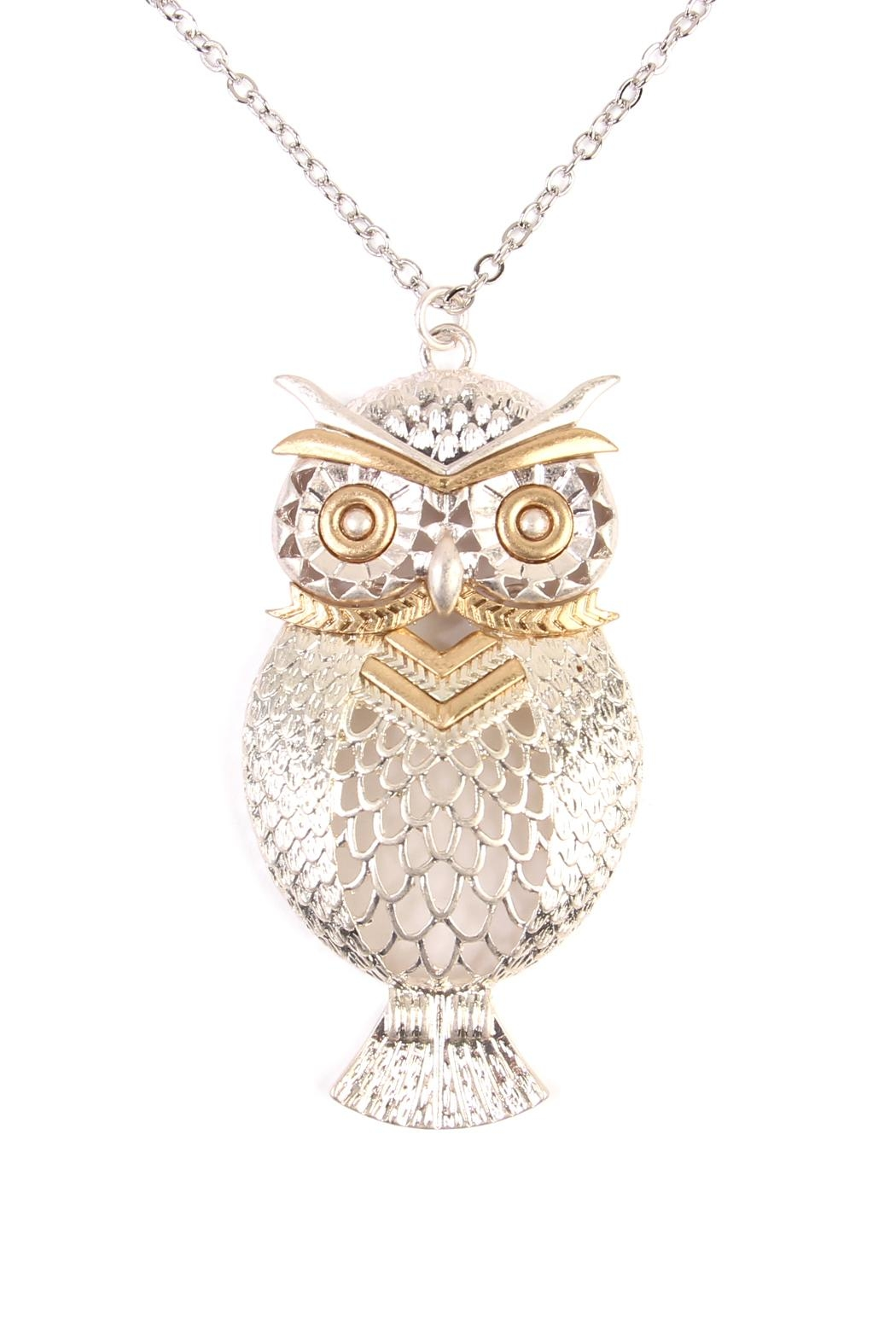Riah Fashion Owl Two-Tone Necklace - Front Full Image