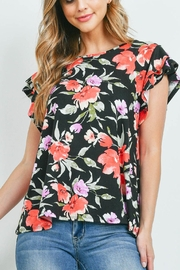Riah Fashion Painterly Floral Print Cap Sleeve Top - Front cropped