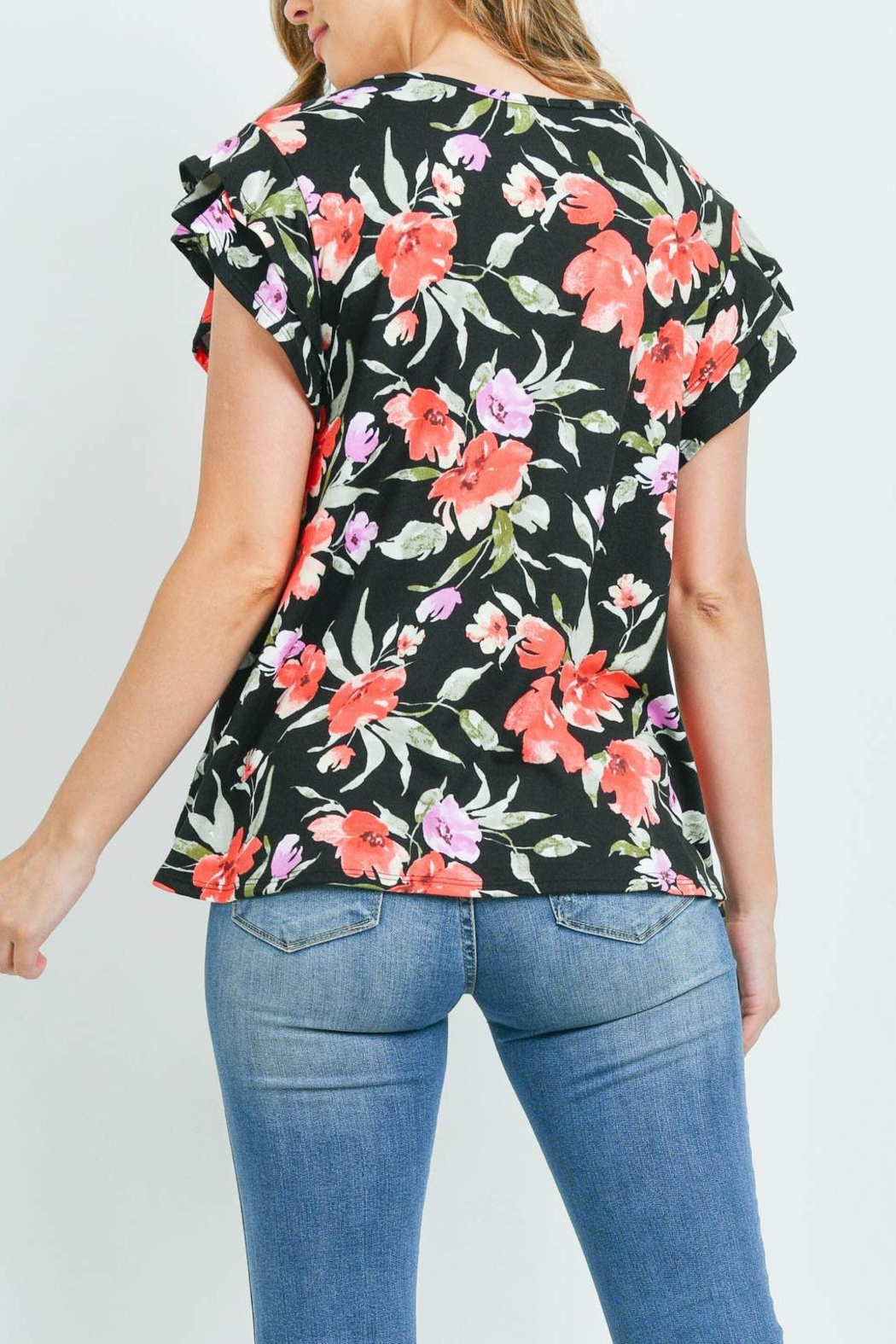 Riah Fashion Painterly Floral Print Cap Sleeve Top - Front Full Image