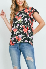 Riah Fashion Painterly Floral Print Cap Sleeve Top - Other