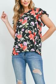 Riah Fashion Painterly Floral Print Cap Sleeve Top - Side cropped