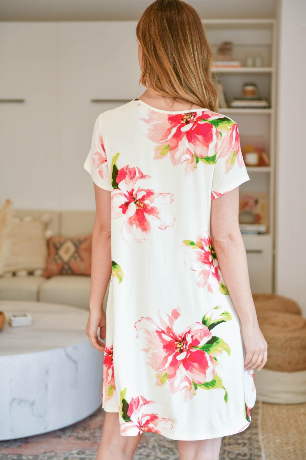 Riah Fashion Painterly-Floral-Print-Round-Neck-Dress - Front Full Image