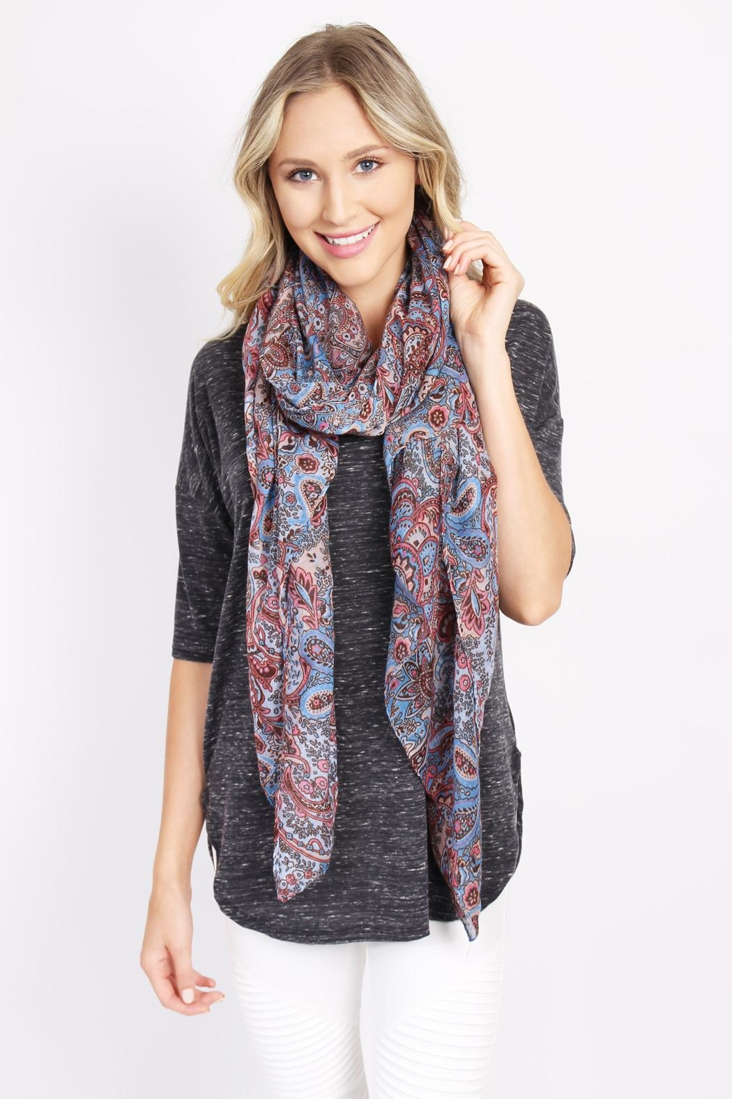 Riah Fashion Paisley Printed Oblong Scarf - Side Cropped Image