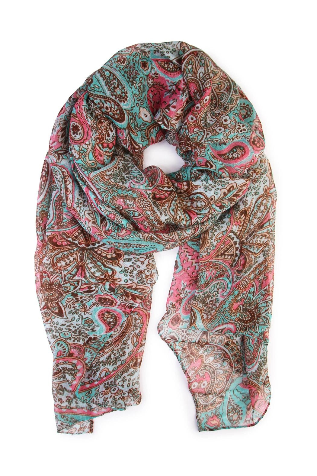 Riah Fashion Paisley Printed Oblong Scarf - Front Cropped Image